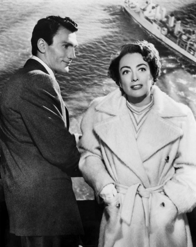 Jack Palance ao lado de Joan Crawford